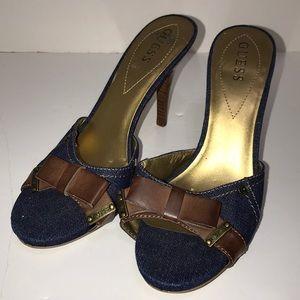 Guess Denim Brown Accents Open Kitten Sandal Heels